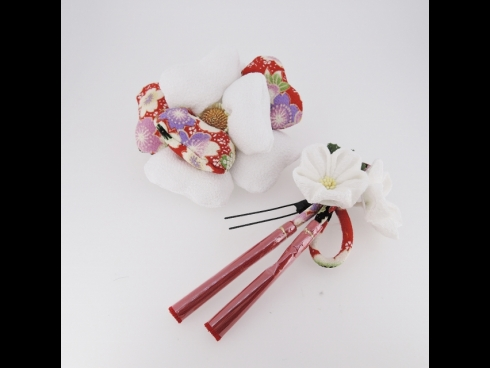 ちりめん細工フラワ-コ-ム&お花かんざしセット