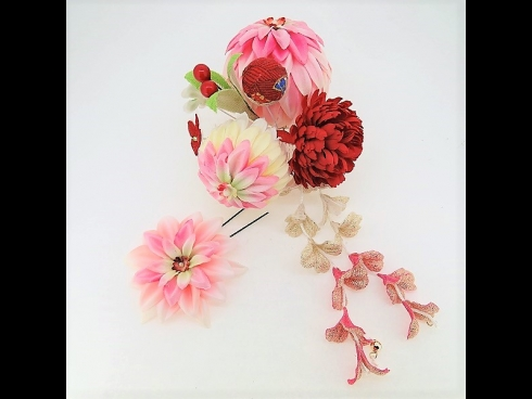 成人式髪飾り花てまりふじ下がりコ-ム ピンク