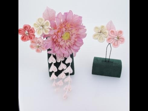 つまみ細工 コーム&Uピン2点セット(ピンク)