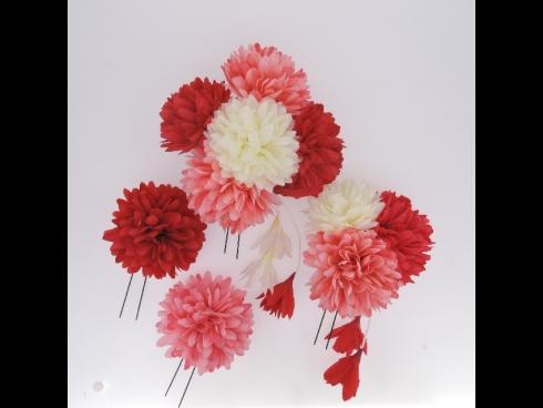 フラワー Uピン×4本セット(赤×ピンク)